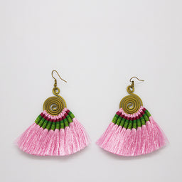 Pompom Earrings - Pink / Green