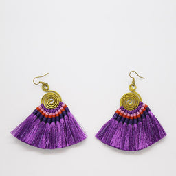 Pompom Earrings - Purple / Purple
