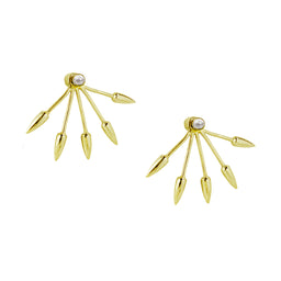 Five Spike Earrings - Pearl / Yellow gold