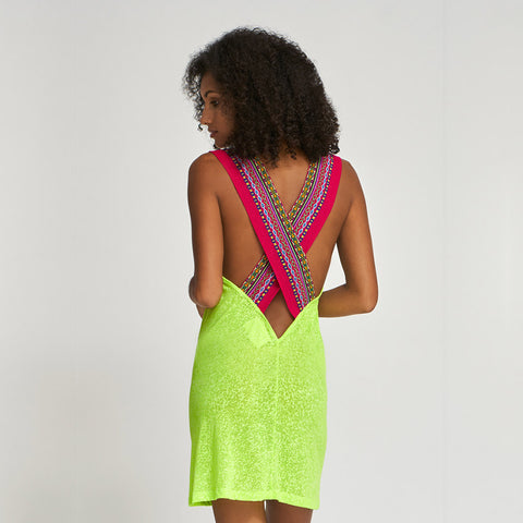 Cross Back mini dress - Lemon