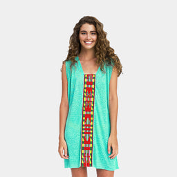 Cheetah Tribal Mini Dress - Mint