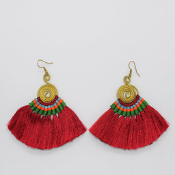 Pompom Earrings - Red / Green