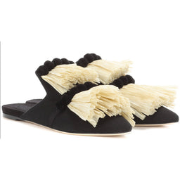Rafia and PomPom Canvas Slippers - Black / Natural