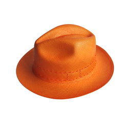 Panama Hat - Trompe L'oeil - Orange/Red Stitch