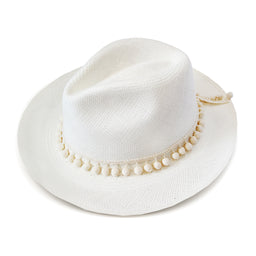 Classic Panama Hat - Pom Pom - White with Cream Pompons