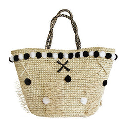 Morocco pom pom tote bag with cotton pom poms - Natural & black/white