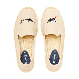 Embroided Smoking Slippers - Shark / Diver - Sand