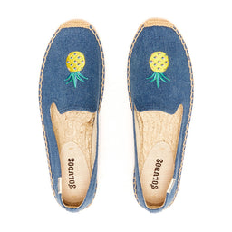 Smoky Slipper - Embroidery Pineapple - Blue Denim