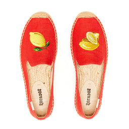 Smoking Slipper Linen - Embroidery Lemons - Coral