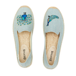 Embroidered Smoking slipper - Peacock - Chambray