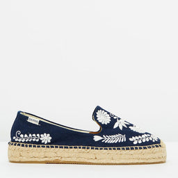 Ibiza Embroidered Platform Espadrilles - Midnight Blue/White