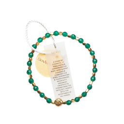 Agate Green Healing Bracelet - Yellow Gold nuggets