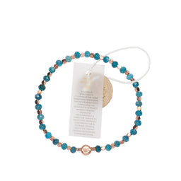 Blue Apatite Healing Bracelet - Yellow Gold nuggets