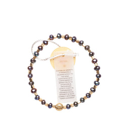 Pearl Black Healing Bracelet - Yellow Gold nuggets