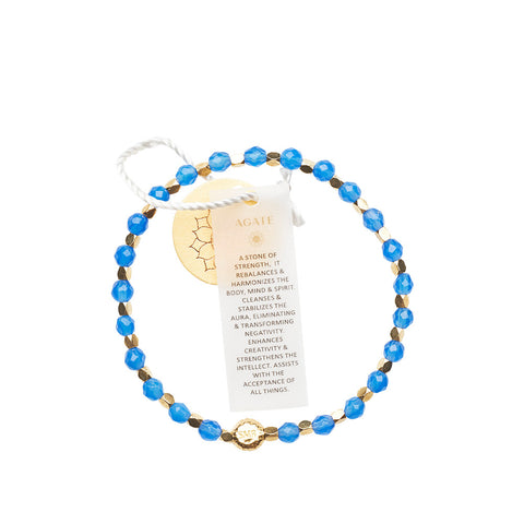 Agate Blue Healing Bracelet - Yellow Gold nuggets