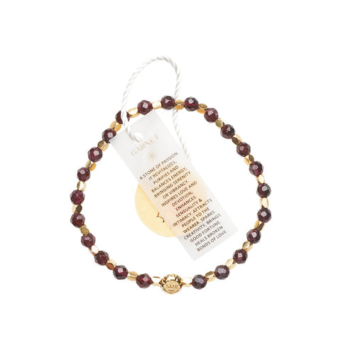 Garnet Healing Bracelet - Yellow Gold nuggets