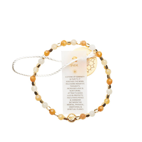 Jade Shades of Yellow Healing Bracelet - Yellow Gold nuggets