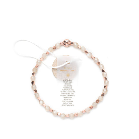 Peach Moonstone Healing Bracelet - Rose Gold nuggets