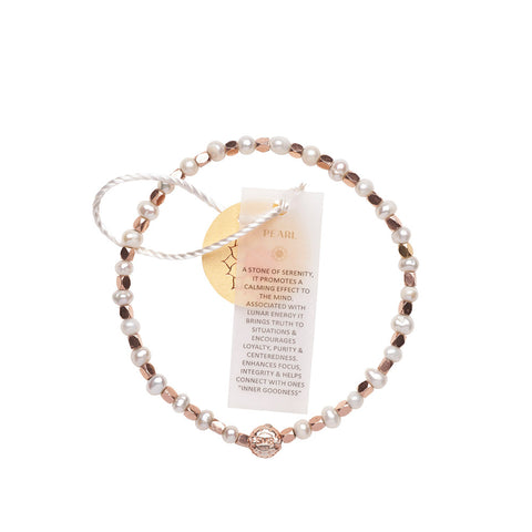 Pearl White Healing Bracelet - Rose Gold nuggets