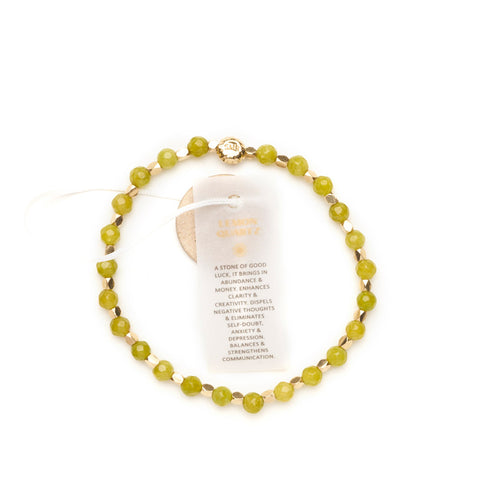 Quartz Lemon Healing Bracelet - Yellow Gold nuggets