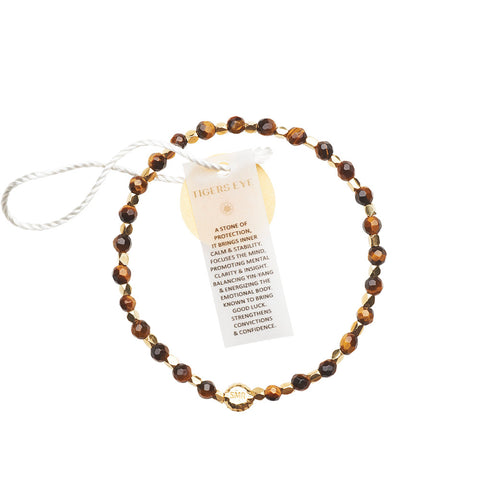 Tigers Eye Healing Bracelet - Yellow Gold nuggets