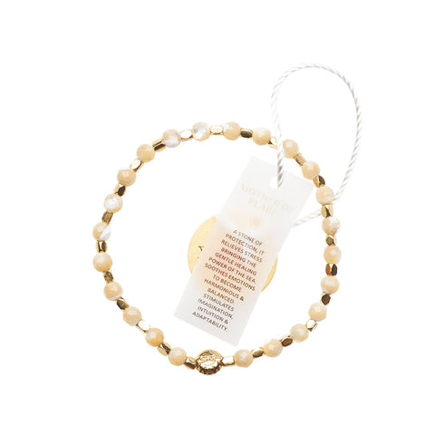 Mother of Pearl Cream Healing Bracelet - Yellow Gold nuggets