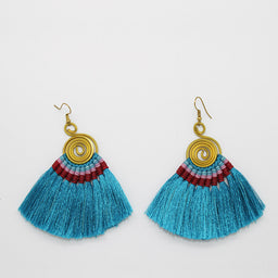 Pompom Earrings - Turquoise / Orange