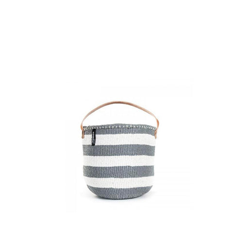 Kiondo Basket with Handles - Thick Stripes - Grey / White