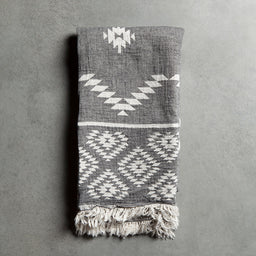 Bath Towel - Boho - Black / Off white