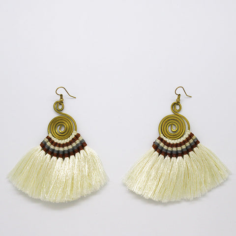 Pompom Earrings - White / Brown