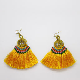 Pompom Earrings - Yellow / Green