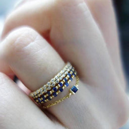 Baby Blue Sapphire Chain Ring