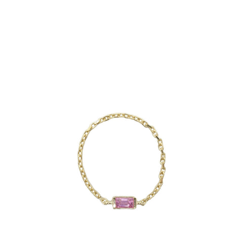 Pink Sapphire Chain Ring - Baguette