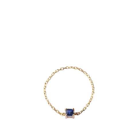 Royal Blue Sapphire - Chain Ring 4 Prongs