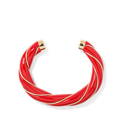 Diana Twisted Bangle - Vermillon / Yellow gold