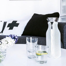 Fridge Carafe with mesh cover - White