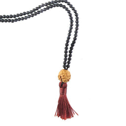 Necklace - Frosted Onyx & Rudraksha
