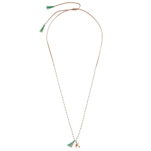 Green turquoise long Tassel Necklace