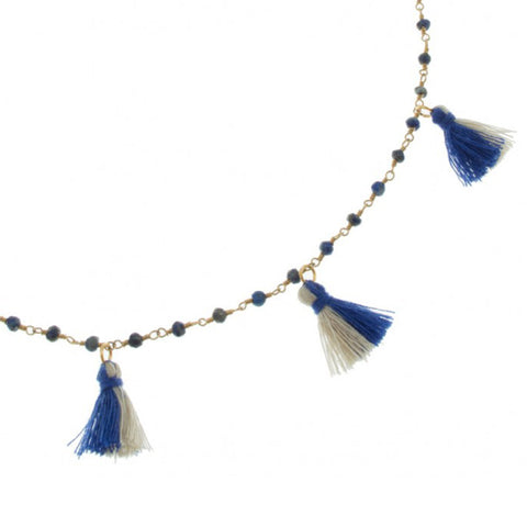 Lapis Long Tassel