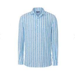 Linen Shirt - Striped - Half Plaket - Aqua / White