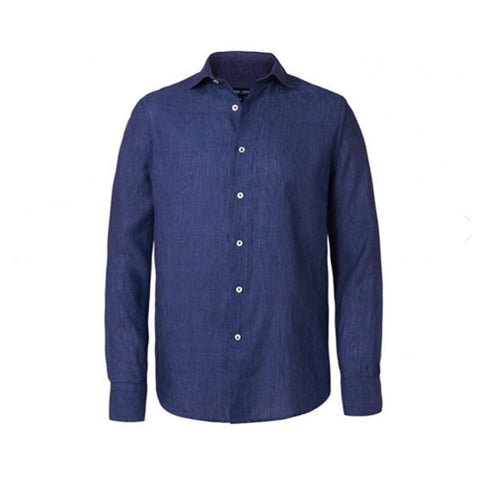 Linen Shirt - Slim Fit - Navy Blue