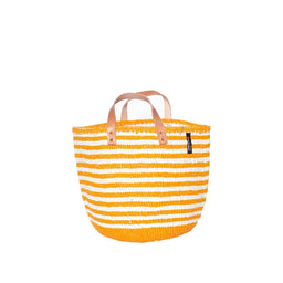 Kiondo Basket with Handles - Thin Stripes - Orange / White
