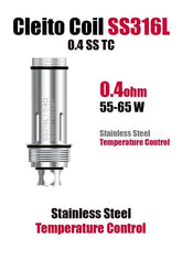 Aspire Cleito Coil 0.4ohm (55W-65W) - Stainless Steel Temperature Control