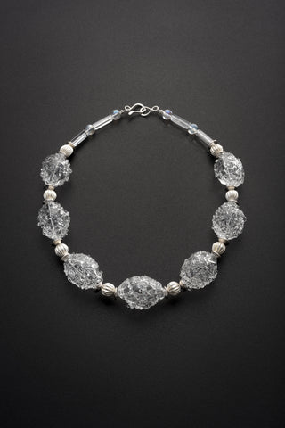 Clear Glass Textured and Silver Necklace