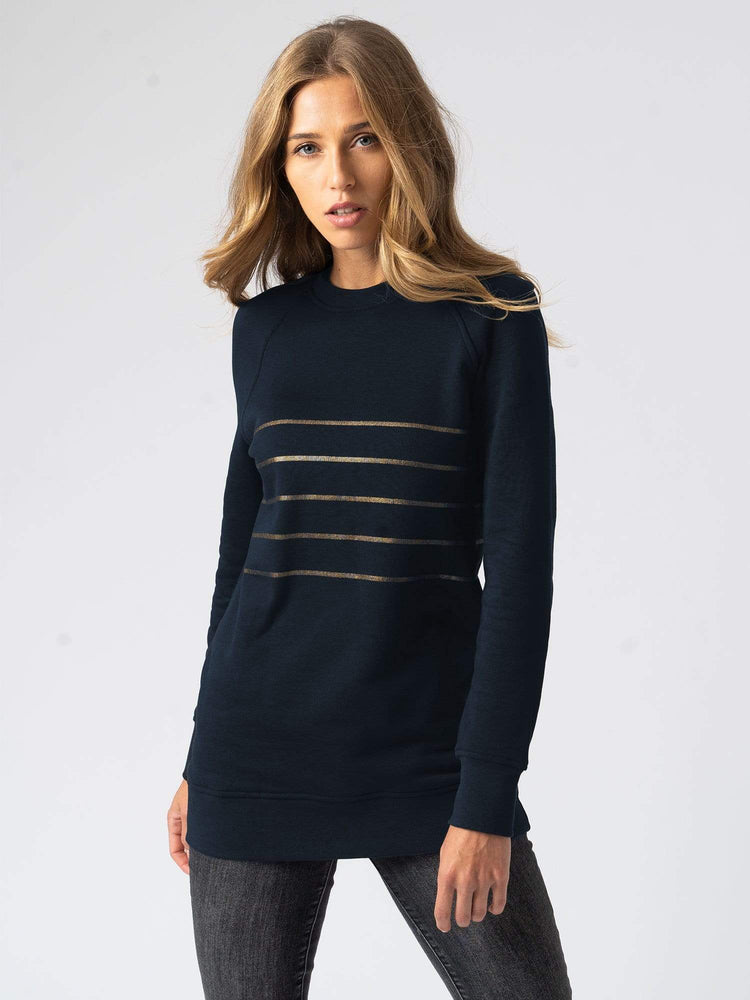 Sweater Cotton Sweater Stripe Navy  UK