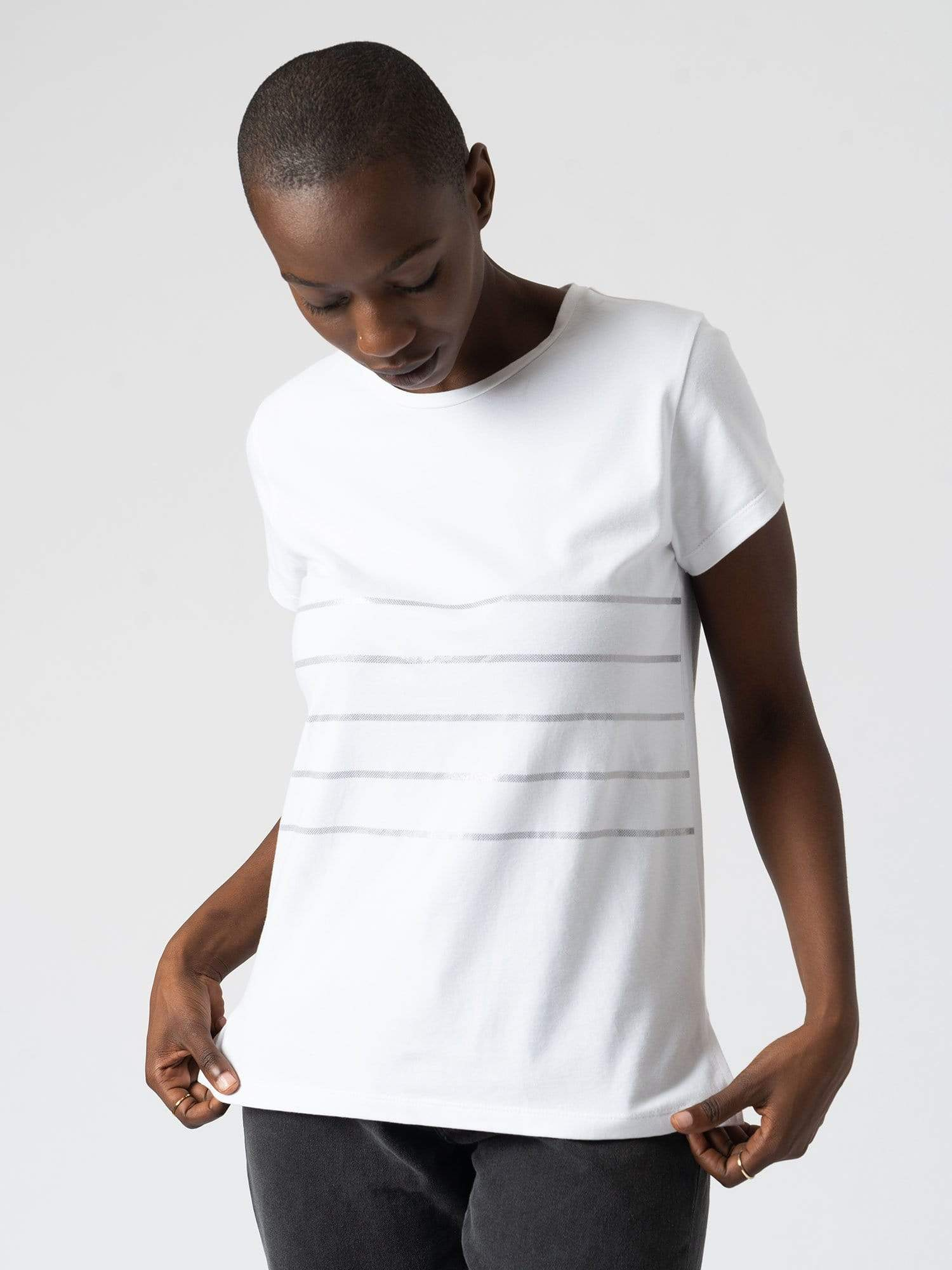 Easy Tee Stripe White