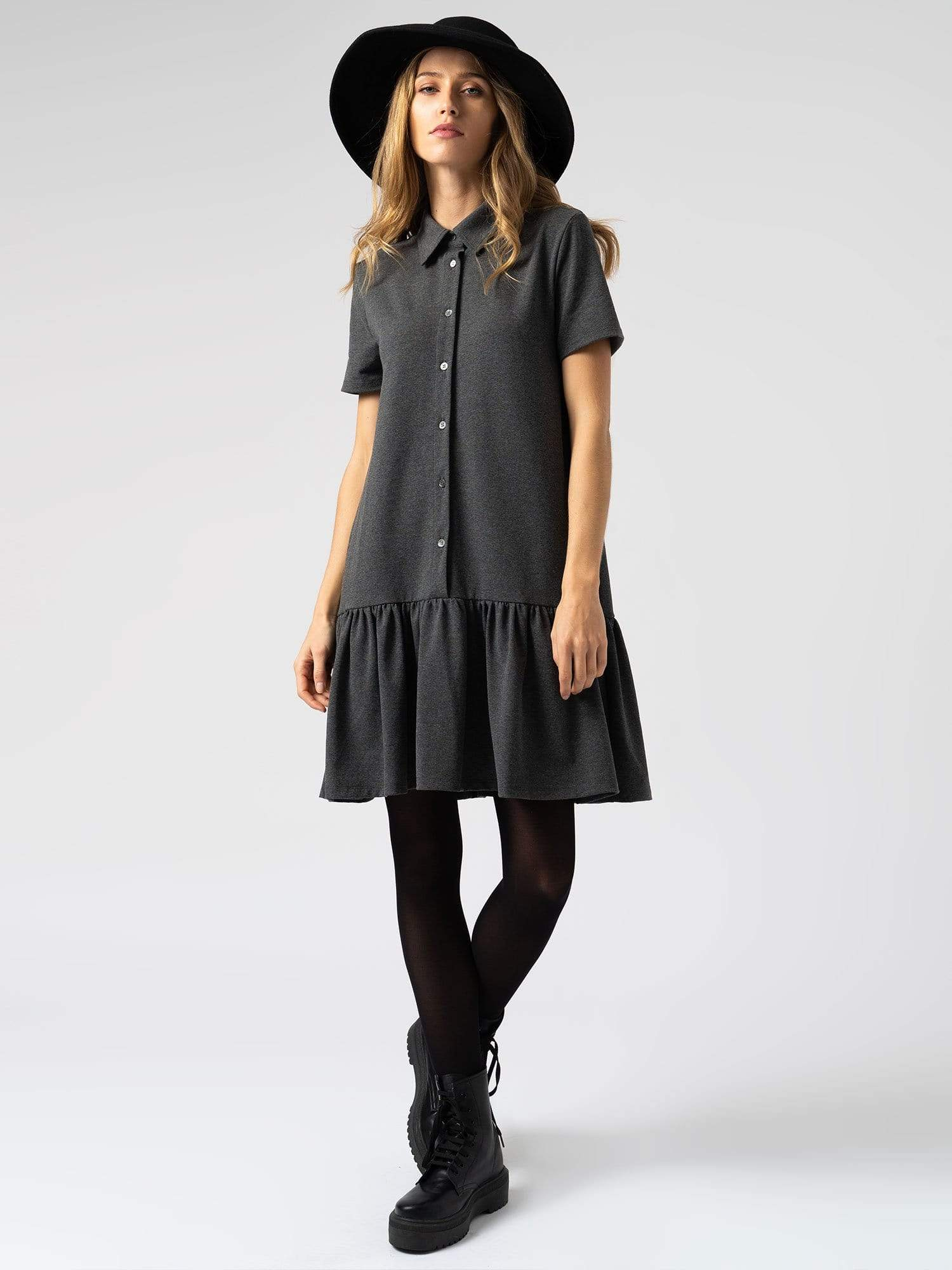 Jersey Ruffle Dress Charcoal