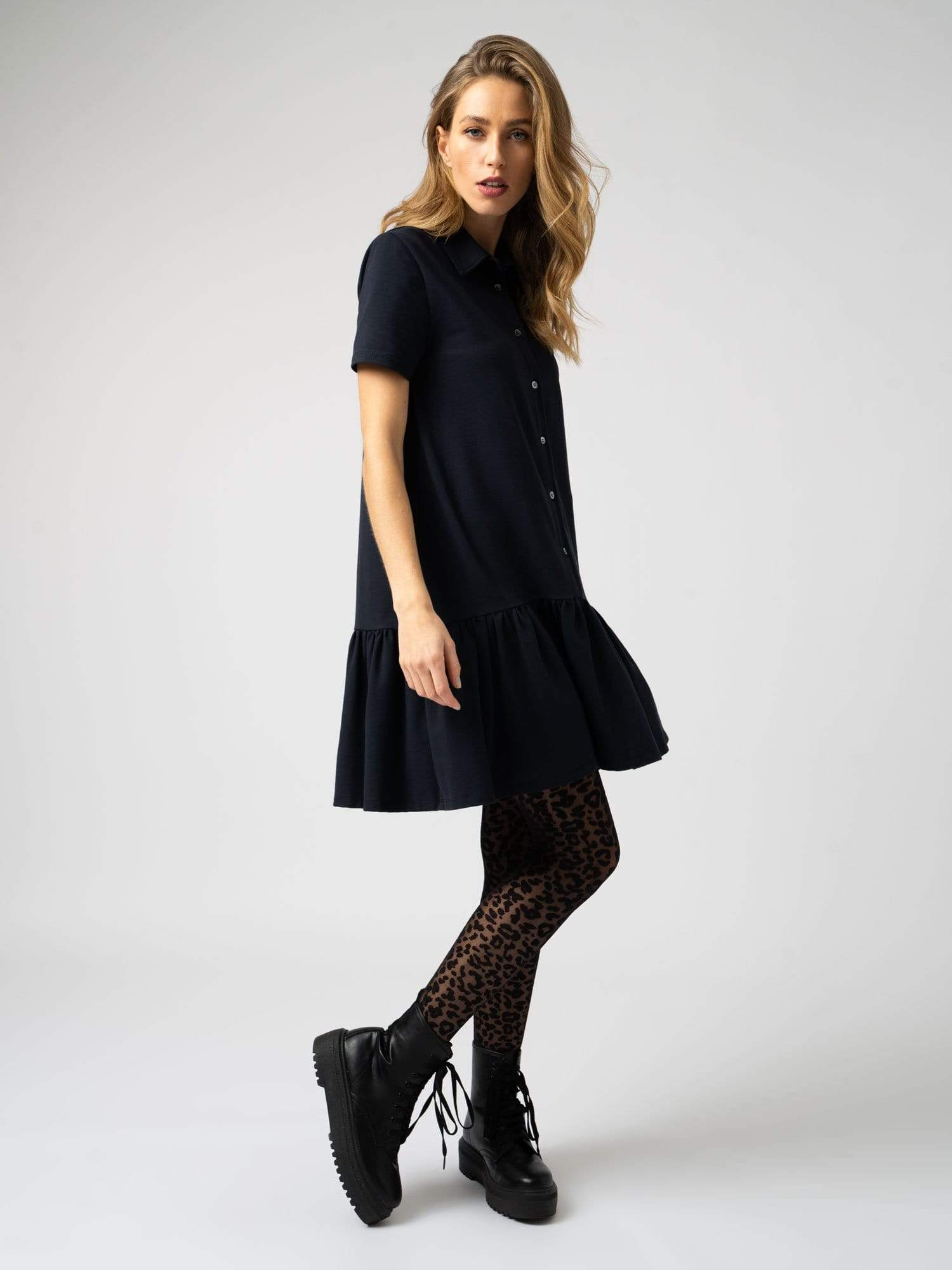 Jersey Ruffle Dress Navy