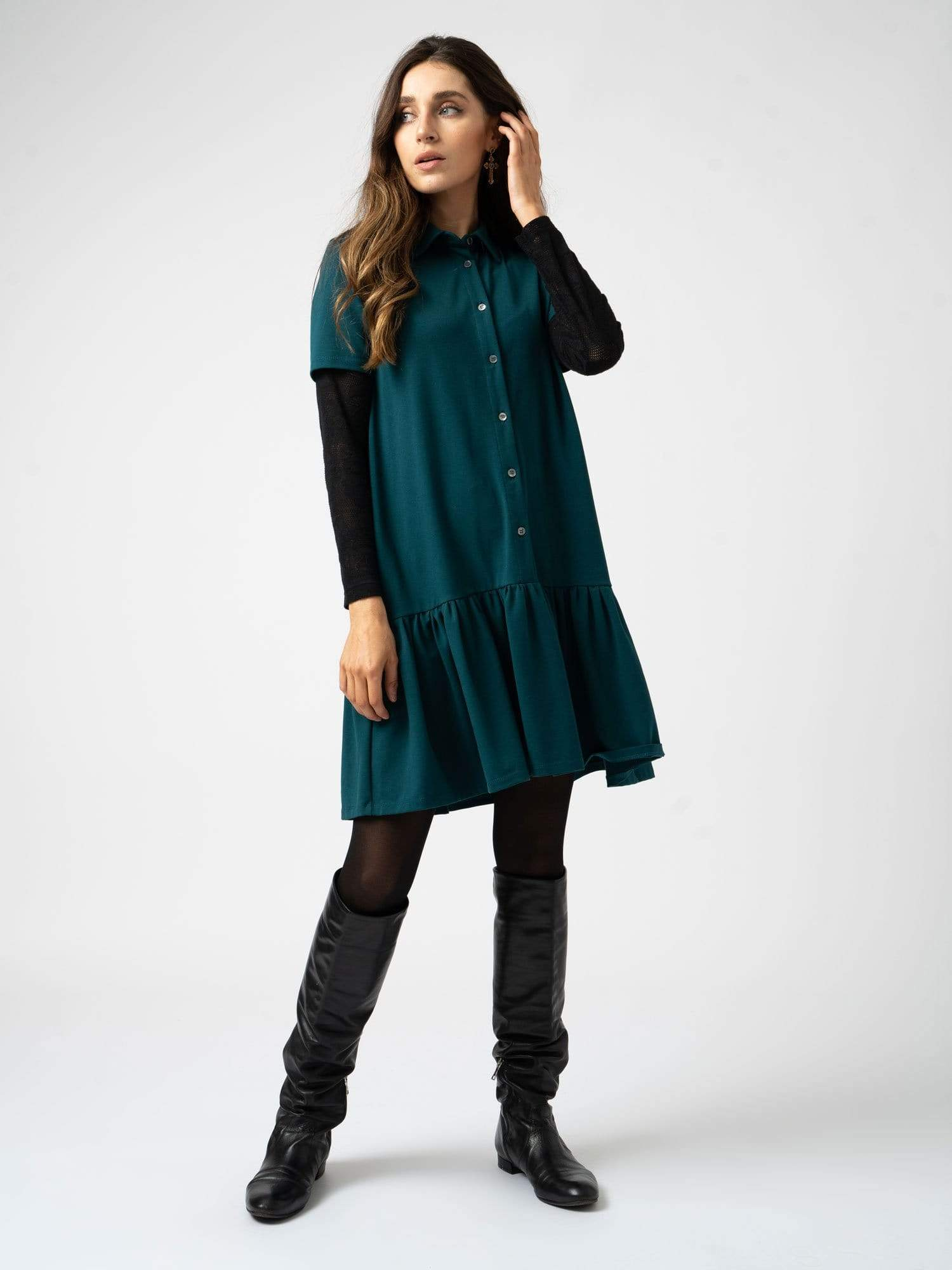 Jersey Ruffle Dress Teal