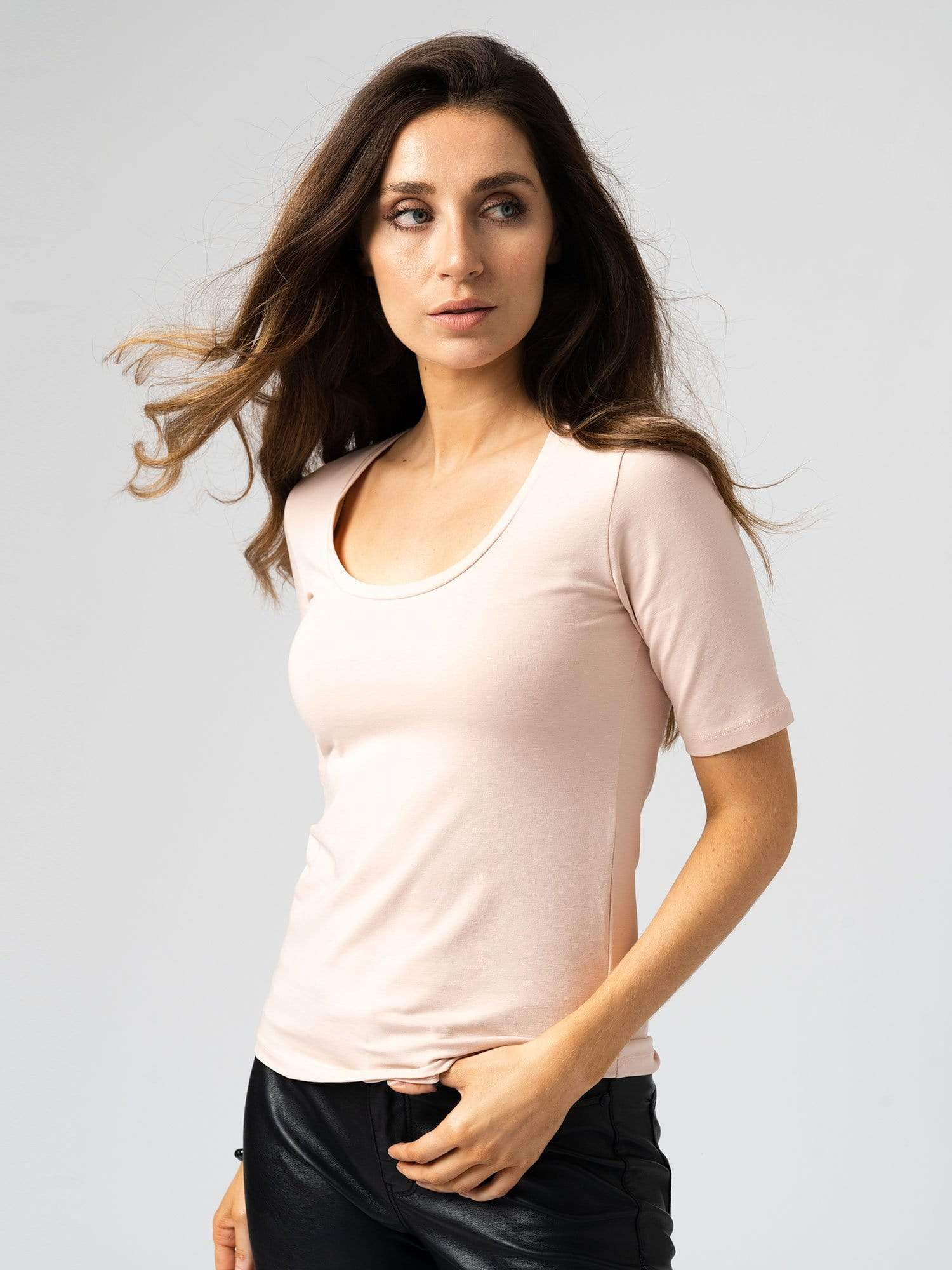 Scoop Neck Tee Rose Dust